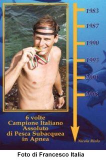 Nicola Riolo campione italiano di apnea con record assoluto di vittorie