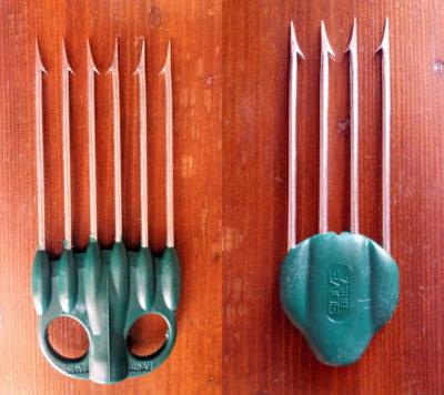 Le fiocine k4 e k6 Sdive ideate da Nicola Riolo che consentono di essere avvitate su un'asta tahitiana